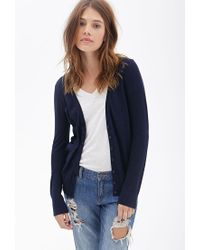 Forever 21 - Blue Classic Knit Cardigan You've Been Added To The Waitlist - Lyst