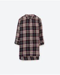 Zara | Blue Check Shirt | Lyst