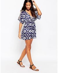 Liquorish - Blue Printed Cold Shoulder Kaftan With Neon Trim - Lyst