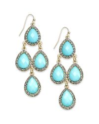 INC International Concepts | Blue Goldtone Pavè Aqua Teardrop Chandelier Earrings | Lyst