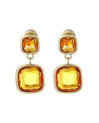 Michael Kors | Metallic Botanicals Gold & Blue Stones Drop Earring | Lyst