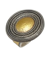 Gurhan | Metallic Gold And Silver 'cavalier' Oval Shield Ring | Lyst