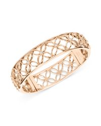 Fossil - Metallic Rose Goldtone Signature Cutout Bangle Bracelet - Lyst