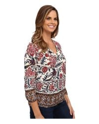 Lucky Brand - Bordered Scarf Top - Lyst
