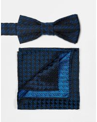 ASOS | Bow Tie And Pocket Square In Blue Check 2 Pack for Men | Lyst
