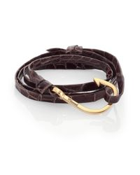 Miansai | Blue Anchor Alligator Leather Bracelet for Men | Lyst