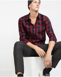 Zara | Blue Check Flannel Shirt for Men | Lyst