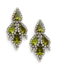 DANNIJO | Green Fern Teardrop Crystal Earrings | Lyst