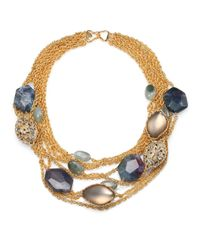 Alexis Bittar | Metallic Faceted Rock Crystal W/ Mesh Bib Necklace | Lyst