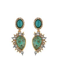 Alexis Bittar | Metallic Crystal Studded Spur Trimmed Dangling Post W/ Rose Cut Chrysocolla Earrings | Lyst