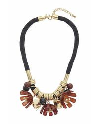TOPSHOP - Brown Multi-flower Cord Necklace - Lyst