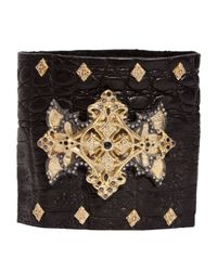Armenta | Black White Diamond Cross Leather Cuff Bracelet for Men | Lyst