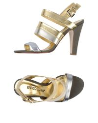 Enrico Lugani - Metallic Two-Toned Leather Sandals - Lyst