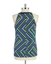Calvin Klein | Multicolor Faux Leather Trimmed Halter Top | Lyst
