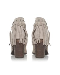 Miss Kg | Brown Shake Mid Heel Ankle Boots With Tassels | Lyst