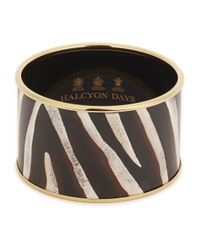 Halcyon Days - Metallic Zebra 18kt Gold Trimmed Enamel Bangle - Lyst