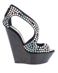 Giuseppe Zanotti - Black Crystal Embellished Wedge - Lyst