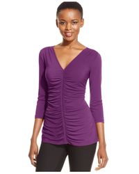 Eci - Purple Three-quarter-sleeve Ruched Top - Lyst