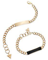 Guess | Metallic Gold-tone Jet Epoxy Id Bracelet Duo | Lyst
