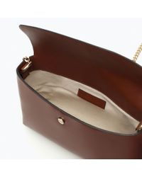 Zara | Brown Messenger Bag With Chain | Lyst
