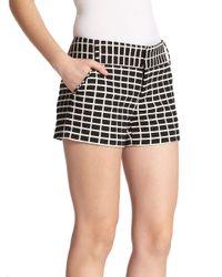 Alice + Olivia | Black Cady Textured Shorts | Lyst