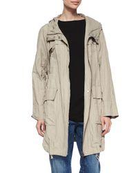 Eileen Fisher - Natural Textured Hooded Metallic Anorak Jacket - Lyst