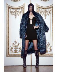 Missguided - Peace + Love Longline Faux Fur Coat Blue - Lyst