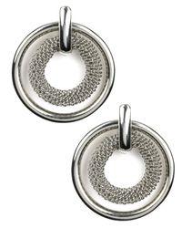 Anne Klein - Metallic Silver-tone Circle Button Stud Earrings - Lyst