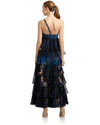 Giorgio Armani - Multicolor Silk Tiered Abstract Print Sequined Gown - Lyst