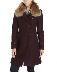 SOIA & KYO | Purple Ren Real Fur Trim Wool Coat | Lyst