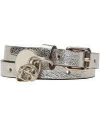 Alexander McQueen - Metallic Silver Double Wrap Bracelet - Lyst