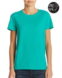 Lord & Taylor - Green Plus Slub Cotton Crewneck Top - Lyst