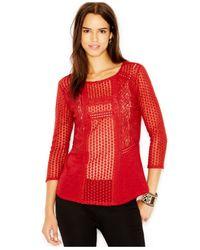 Lucky Brand | Red Lucky Brand Crochet-detail Contrast Top | Lyst