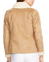 Lauren by Ralph Lauren | Brown Petite Sherpa-lined Open-front Jacket | Lyst