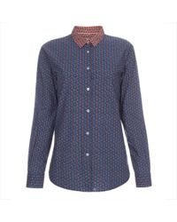 Paul Smith - Women's Blue 'foulard' Print Shirt With Contrasting Yoke - Lyst