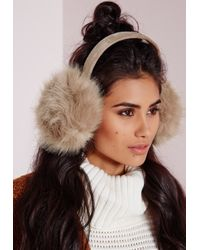 Missguided - Natural Ear Muffs Mink - Lyst