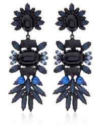 DANNIJO - Blue Black Crystal Colby Earrings - Lyst