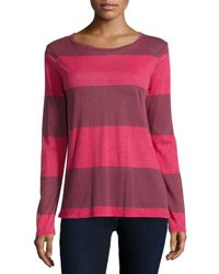 Neiman Marcus | Pink Cotton/cashmere Long-sleeve Striped Top | Lyst