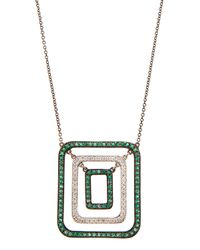 Mimi So | Green Swing Pendant Necklace W/ Diamonds & Emeralds | Lyst