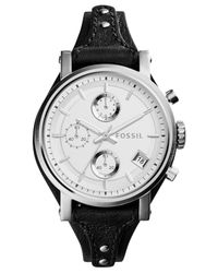 Fossil - Women's Chronograph Original Boyfriend Black Leather Strap Watch 38mm Es3817 - Lyst