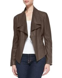 Kors by Michael Kors - Brown Leather Drape-front Jacket - Lyst