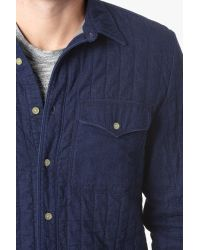 7 For All Mankind - Blue Quilted Denim Shirt Jacket In Indigo for Men - Lyst
