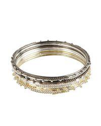 Chamak by Priya Kakkar - Metallic Set Of 8- Gold, Silver And Gunmetal Dot Spiked Metal Thin Bangles - Lyst