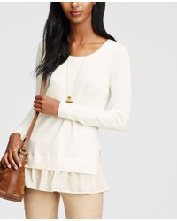 Ann Taylor | White Two-in-one Sweater | Lyst