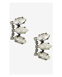 Express - White Triple Navette Rhinestone Post Earrings - Lyst