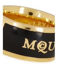 Alexander McQueen | Black Enamel Ring | Lyst
