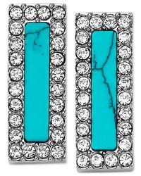 Michael Kors - Blue Silver-Tone Turquoise-Color Bar Stud Earrings - Lyst