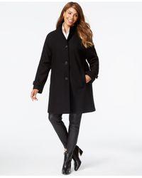 Jones New York | Black Plus Size Heathered Walker Coat | Lyst