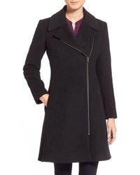 Charles Gray London - Black Asymmetrical Wool Blend Coat - Lyst