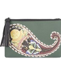 Mary Katrantzou | Green Patterned Canvas Pouch, Women's, Butterfly Seed | Lyst